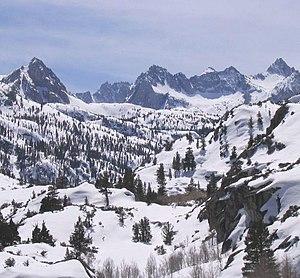 John Muir Wilderness - Sabrina Basin in the John Muir Wilderness. Winter lingers until June in most years.
