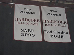 Tod Gordon - Gordon's Hardcore Hall of Fame banner in the former ECW Arena.