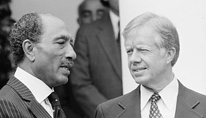 Assassination of Anwar Sadat - Sadat (left), with President Jimmy Carter, in Washington, D.C. on April 8, 1980, during a visit to the White House.