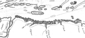 Battle of Saint-Pierre - Detail from a 1772 map, showing Crane Island (Île-aux-Grues), St. Anne's (Sainte-Anne-de-la-Pocatiere), St. Thomas, and St. Peters (Saint-Pierre)