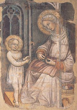 Saint Anne and the young Virgin sewing, fresco by the Master of the Bambino Vispo, Museo dell'Opera di Santa Croce.jpg