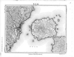 Sakurajima - A map of Sakurajima in 1902, showing it as a distinct island.