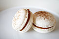 Salted caramel macaron on plate, profile, February 2011.jpg