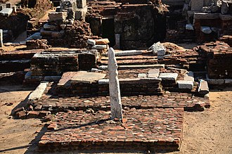 Architecture of Tamil Nadu - Stone vel on a brick platform at the entrance to the Murugan Temple, Saluvankuppam, 300 BC