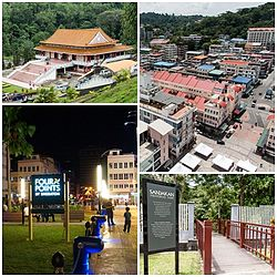 From top left: Puu Jih Shih Temple, Sandakan town view, Sandakan Memorial Park and Harbour Square.