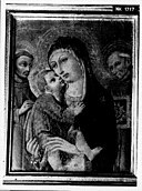 Sano di Pietro - Madonna en kind met Sint Franciscus van Assisi en Sint Berna - NK1717 - Cultural Heritage Agency of the Netherlands Art Collection.jpg