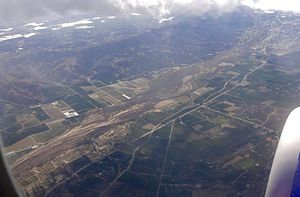 Santa Clara River Valley - Aerial view of the Santa Clara River Valley, with CA 126 running through it.