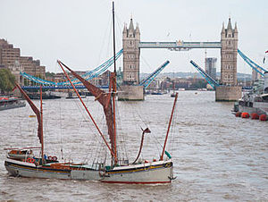 Will (Thames barge) - Will in the Upper Pool of London with Tower Bridge