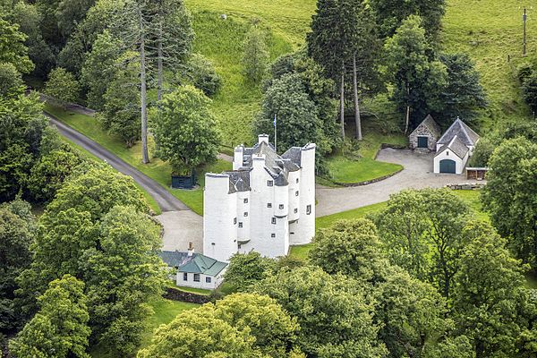 Aerial view of Edinample Castle