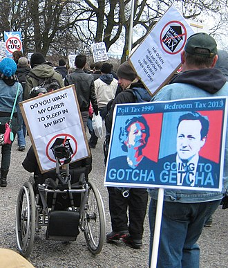 Disability rights movement - Disability rights activist outside Scottish Parliament, 30 March 2013