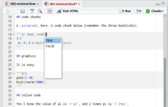 Knitr - Image: Screenshot knitr R Studio