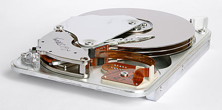 Inner view of a 1998 Seagate HDD that used Parallel ATA interface Seagate ST33232A hard disk inner view.jpg