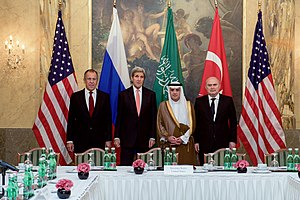 Syrian Civil War - The foreign ministers of Russia, the U.S., Saudi Arabia, and Turkey in Vienna, before a four-way discussion focused on Syria, 29 October 2015