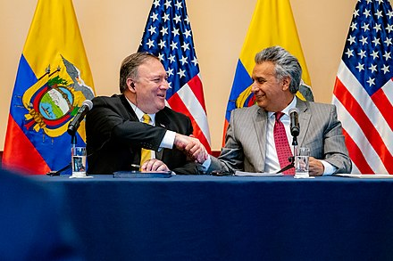Ecuadorian President Lenin Moreno with U.S. Secretary of State Mike Pompeo, 20 July 2019 Secretary Pompeo Holds Joint Press Conference with President Moreno (48336351591).jpg