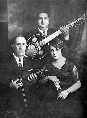 Rebetiko - Dimitrios Semsis (lyra), Agapios Tomboulis (banjo) and Roza Eskenazi, the Smyrna Trio (Athens, 1932)