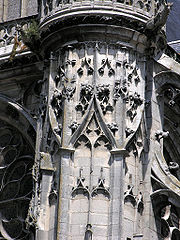 Flamboyant Gothic blind arcading and purely decorative tracery on the 16th-century transept of Senlis