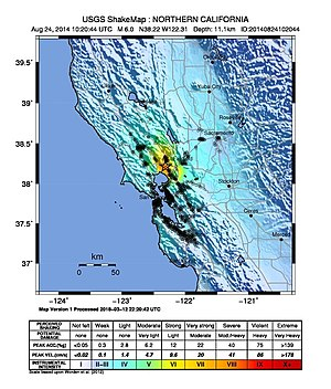 2014 South Napa earthquake - CISN ShakeMap for the event