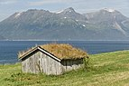 Shed with hay roof at Ullsfjorden, Lyngen, Troms, Norway, 2014 August.jpg