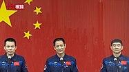 Posádka Shenzhou 12 na tiskové konferenci 16. června