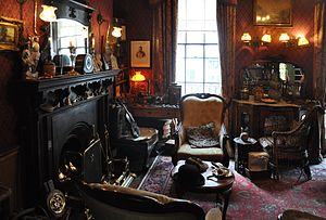 "Fireplace - Victorian style ""sitting room"" with a fireplace in the Sherlock Holmes Museum, London"