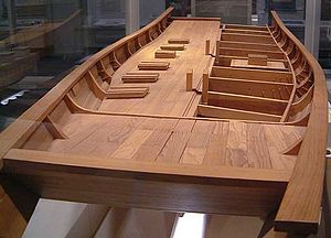 Chola dynasty - Model of a Chola's ship's hull (200—848 CE), built by the ASI, based on a wreck 19 miles off the coast of Poombuhar, displayed in a Museum in Tirunelveli.