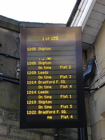 English: Shipley Station Departure Sign on Chr...