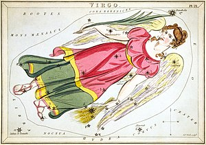 Virgo (constellation) - Virgo as depicted in Urania's Mirror, a set of constellation cards published in London c.1825