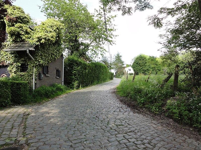 Molenberg cobblestone road and hill in Sint-Denijs-Boekel. Sint-Denijs-Boekel, Zwalm, East Flanders, Belgium