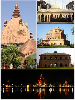 Clockwise from top: Sivadol, Ajanpir Dargah, Garhgaon's Kareng ghar, Rang ghar and night view of Sivasagar tank