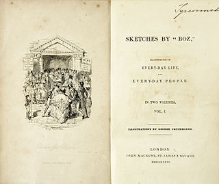 <i>Sketches by Boz</i> collection of short pieces Charles Dickens