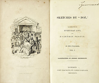 Sketches by Boz - Frontispiece of the (first series) first  edition, February 1836. Illustration by George Cruikshank