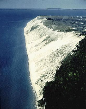 Geography of Michigan - Aerial View of Sleeping Bear Dunes