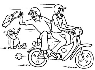 Snatch theft - A cartoon illustrating snatch thieves in action