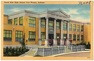 South Side High School (Fort Wayne, Indiana) - A postcard depicting South Side, circa 1930–1945.