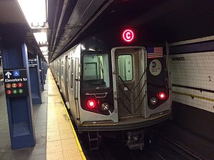 C (New York City Subway service) - A train made of R160 cars in C service at Fulton Street, bound for Brooklyn.