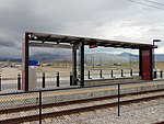 Southwest at a Daybreak Parkway station passenger shelter, Apr 16.jpg