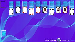 Spider (solitaire) - This is a screenshot of the solitaire game Spider 2 Suit layout.