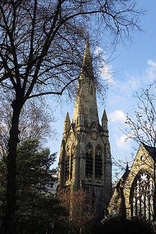 Spire of St Mellitus in winter.JPG