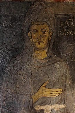 St. Francis. Sacro Speco at Subiaco. Fresco. 1224 or 1228.
