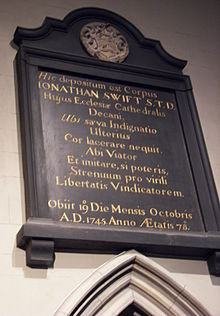 Epitaph in St Patrick's Cathedral, Dublin near his burial site (Source: Wikimedia)