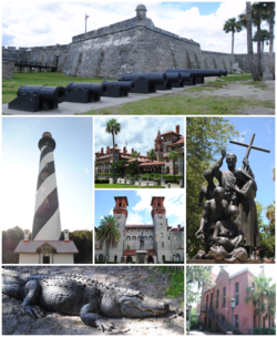 Top, left to right: Castillo de San Marcos, St. Augustine Light, Flagler College, Lightner Museum, statue near the Cathedral Basilica of St. Augustine, St. Augustine Alligator Farm Zoological Park, Old St. Johns County Jail