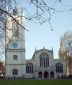St. Margaret's Church, Westminster Abbey. The Central Tower of Westminster Palace is in the background.