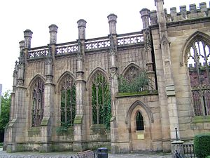 Liverpool Blitz - Trees now grow in the shell of St Luke's Church