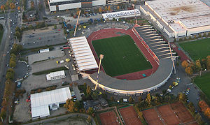 Eintracht-Stadion - Aerial view before the 2009–13 reconstruction.