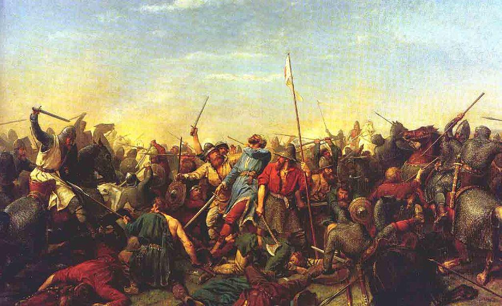 Stamfordin sillan taistelu. Peter Nicolai Arbon maalaus.