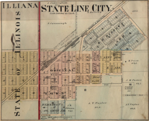 State Line City, Indiana - Map from 1877 atlas