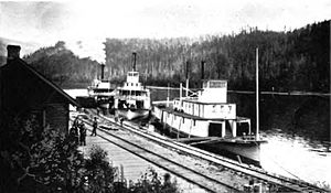 James William Troup - Lytton (in distance), Columbia (center), and Kootenai at Robson, BC, sometime between 1890 and 1894