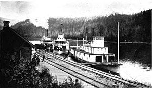 Columbia (Arrow Lakes sternwheeler) - Lytton (in center), with Trail