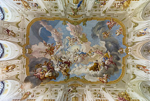 Angel - The Harmony between Religion and Science, a ceiling fresco of the Marble Hall at Seitenstetten Abbey (Lower Austria) by Paul Troger, 1735