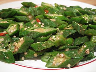 Okra - Stir fried okra with diced chili peppers